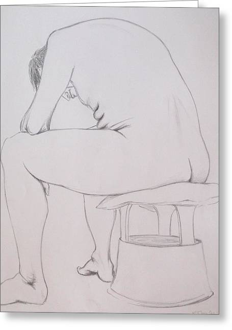 Greeting Card featuring the drawing Pencil Sketch March 2011 by Mira Cooke