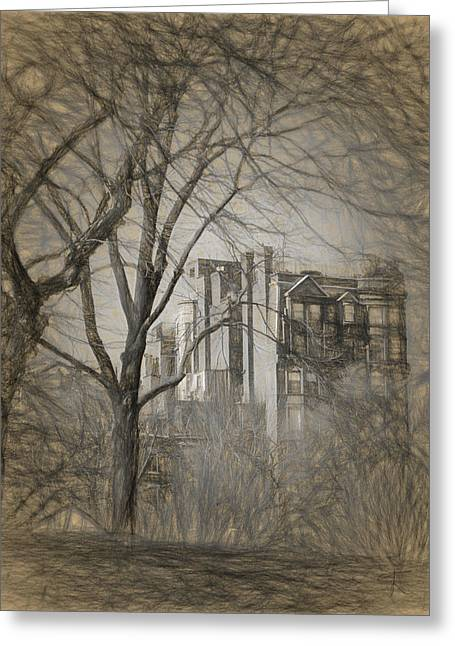 Pencil Sketch Of Beacon Hill Greeting Card