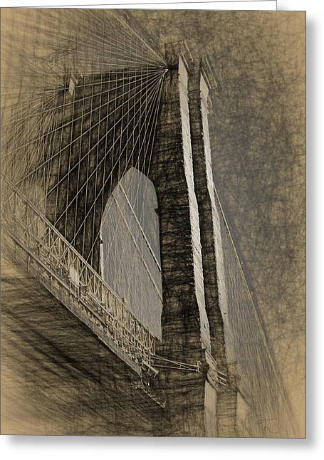 Pencil Sketch Of The Brooklyn Bridge Greeting Card