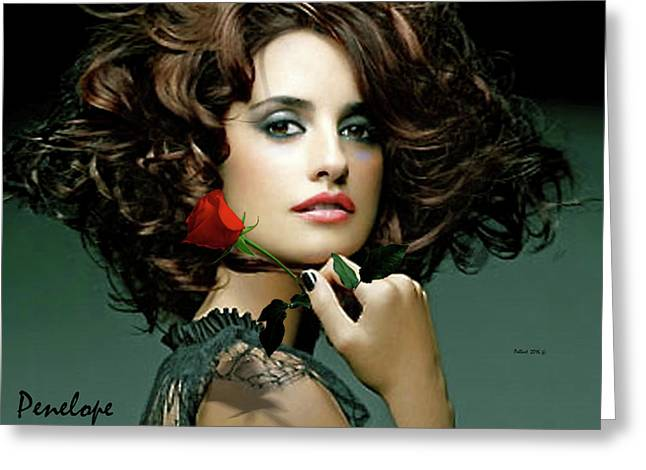 Penelope Cruz Greeting Card by Thomas Pollart