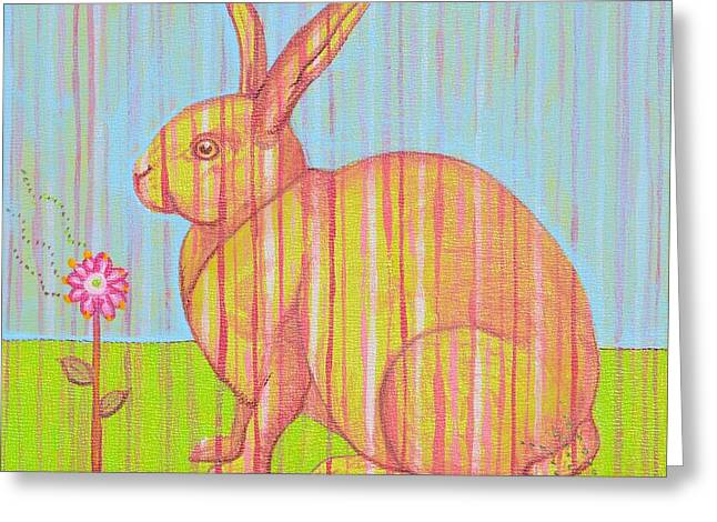 Penelope The Rabbit At Snickerhaus Garden Greeting Card by Christine Belt