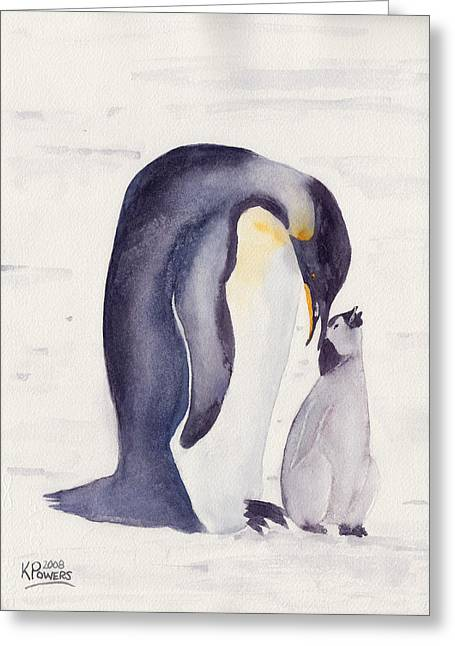 Penguin And Baby Greeting Card by Ken Powers