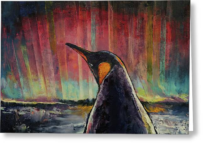 Penguin Greeting Card by Michael Creese