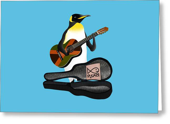 Penguin Busker Greeting Card by Early Kirky