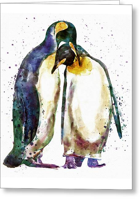 Penguin Couple Greeting Card by Marian Voicu