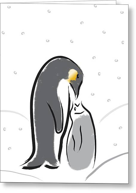 Penguin Feeding Greeting Card