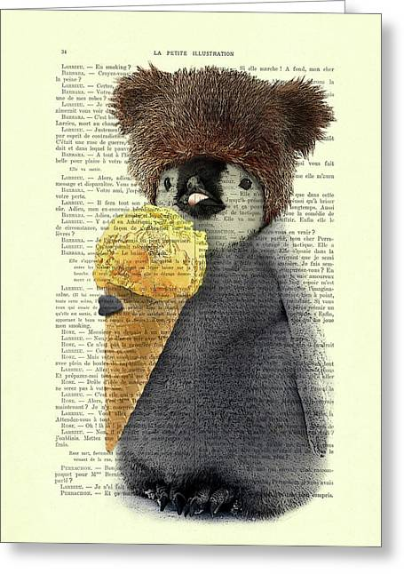 Penguin Ice Cream Greeting Card by Madame Memento
