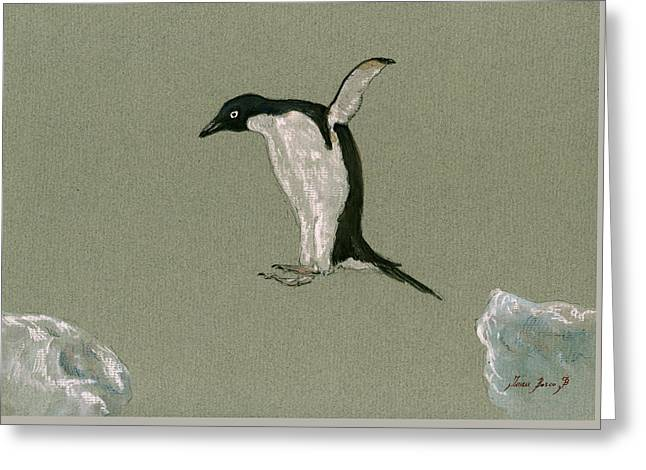 Penguin Jumping Greeting Card by Juan  Bosco