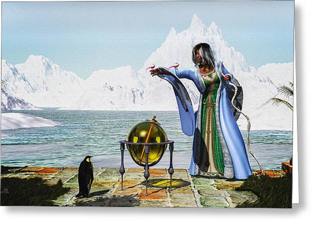Penguin Magic And The Winter Witch Greeting Card by Bob Orsillo