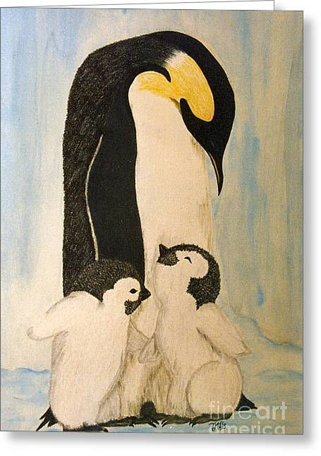 Greeting Card featuring the drawing Penguin Mama by Terri Mills
