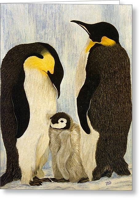 Greeting Card featuring the drawing Penguin Parents by Terri Mills