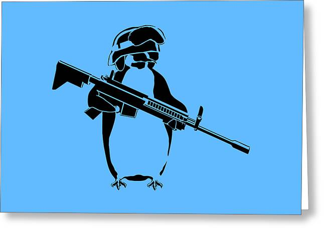 Penguins Greeting Cards - Penguin soldier Greeting Card by Pixel Chimp
