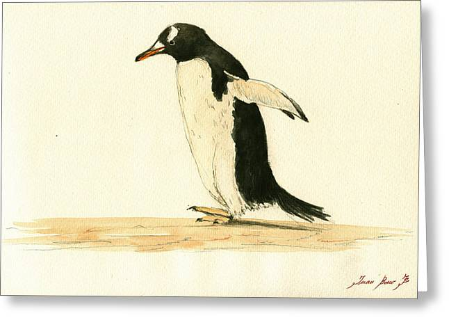 Penguin Walking Greeting Card by Juan  Bosco