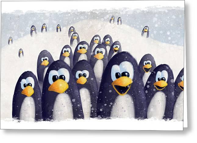 Penguin Winter Greeting Card by David Breeding