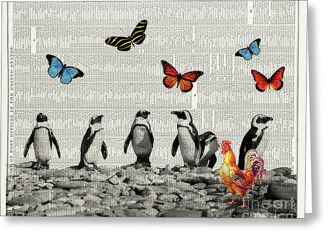 Penguins And Butterflies Greeting Card