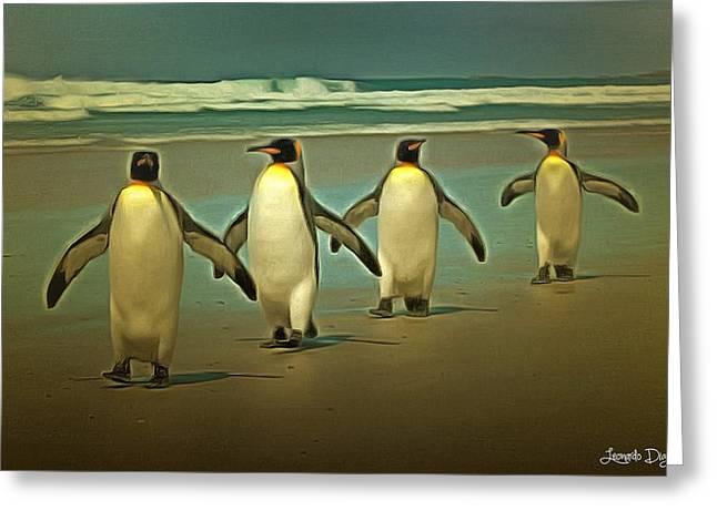 Penguins In The Beach - Da Greeting Card