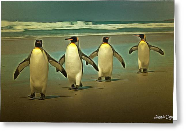 Penguins In The Beach Greeting Card by Leonardo Digenio