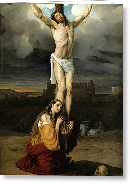 Penitent Magdalene At The Foot Of The Cross Greeting Card by Francesco Hayez