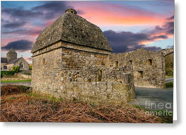 Penmon Priory Sunset Greeting Card by Adrian Evans