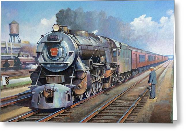 Greeting Card featuring the painting Penn Central Pacific. by Mike Jeffries