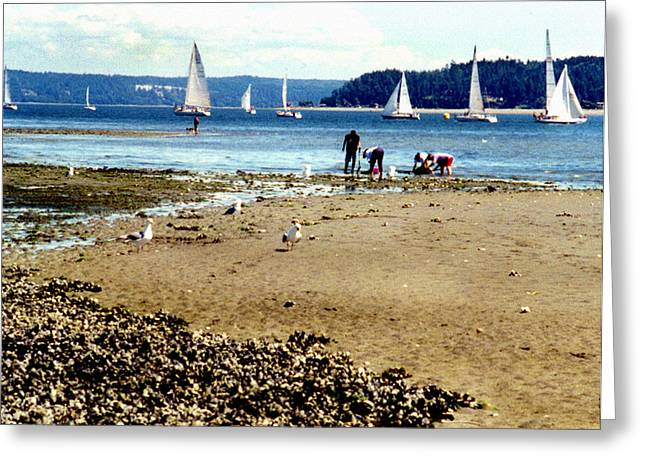 Penn Cove Clamming Greeting Card by Valerie  Moore