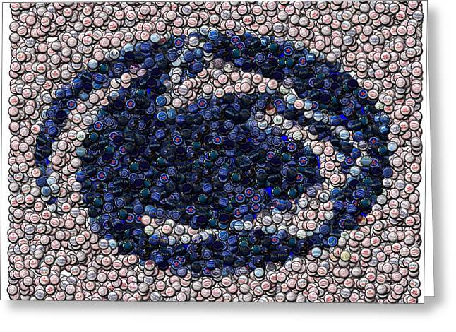 Penn State Bottle Cap Mosaic Greeting Card