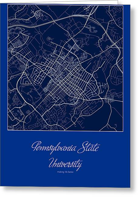 Penn State Street Map - Pennsylvania State University State Coll Greeting Card