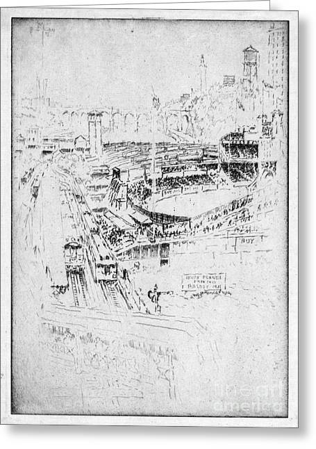 Greeting Card featuring the drawing Pennell Polo Grounds 1921 by Granger