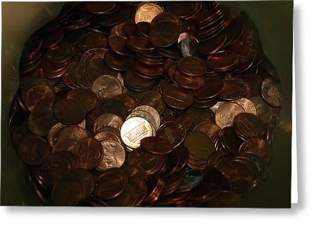 Pennies Greeting Card by Rob Hans