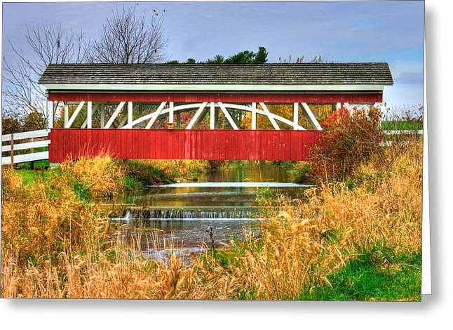 Pennsylvania Country Roads - Oregon Dairy Covered Bridge Over Shirks Run - Lancaster County Greeting Card