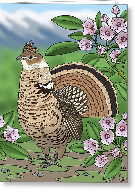 Pennsylvania State Bird Grouse And Flower Laurel Greeting Card