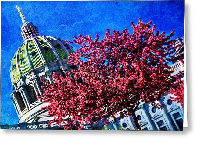 Greeting Card featuring the photograph Pennsylvania State Capitol Dome In Bloom by Shelley Neff
