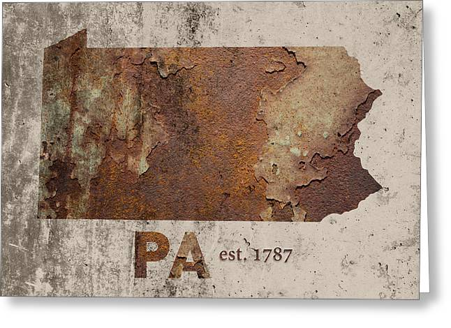 Pennsylvania State Map Industrial Rusted Metal On Cement Wall With Founding Date Series 011 Greeting Card by Design Turnpike