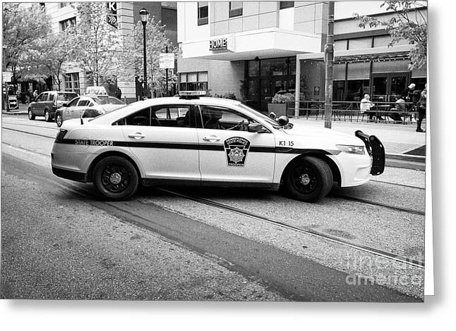 pennsylvania state trooper police cruiser vehicle Philadelphia USA Greeting Card