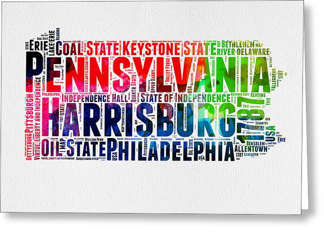 Pennsylvania Watercolor Word Cloud Map  Greeting Card
