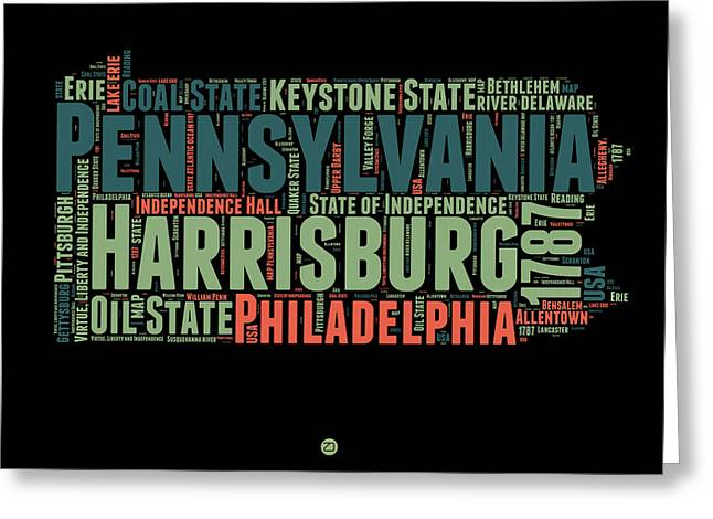 Pennsylvania Word Cloud Map 1 Greeting Card by Naxart Studio