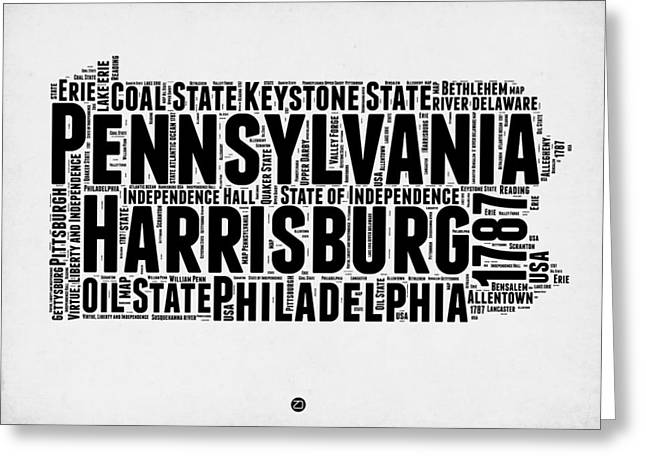 Pennsylvania Word Cloud Map 2 Greeting Card by Naxart Studio