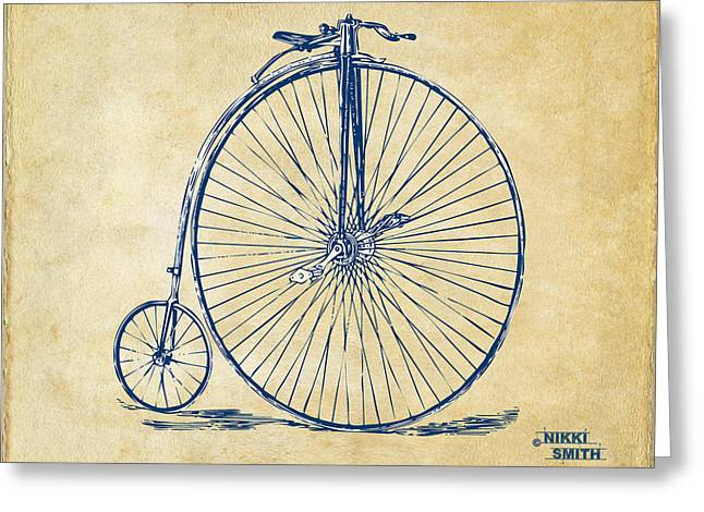 Pedals Greeting Cards - Penny-Farthing 1867 High Wheeler Bicycle Vintage Greeting Card by Nikki Marie Smith