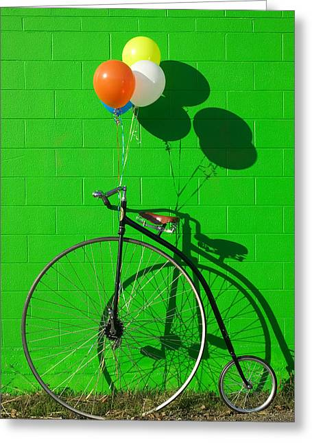 Handlebar Greeting Cards - Penny farthing bike Greeting Card by Garry Gay