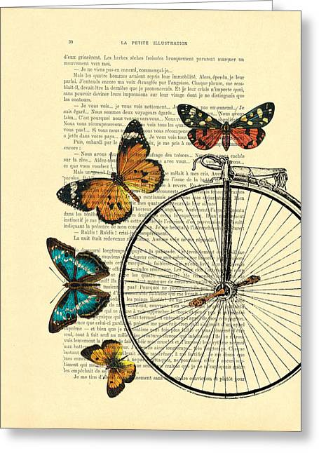 Penny Farthing With Butterflies Greeting Card by Madame Memento