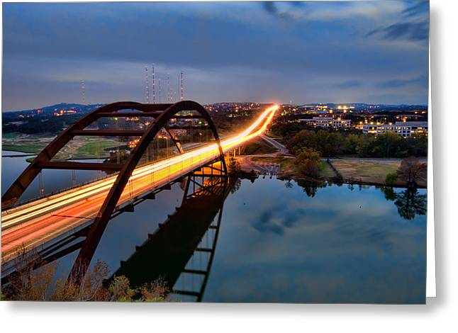 Pennybacker Bridge At Dusk Greeting Card