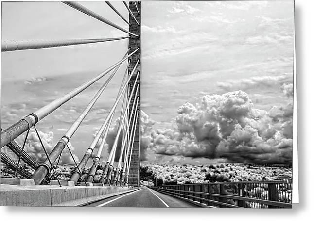 Penobscot Narrows Bridge In Black And White Greeting Card