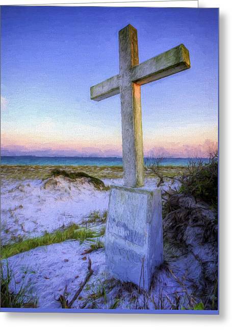 Pensacola Beach Cross Greeting Card by JC Findley
