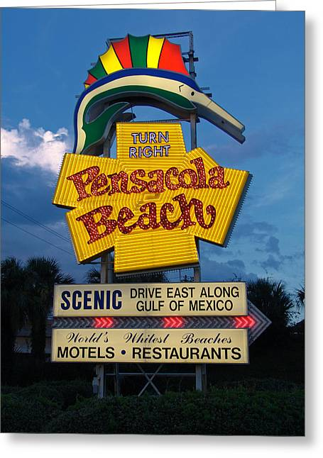 Pensacola Beach Sign At Sunset Greeting Card by Jim Sweida
