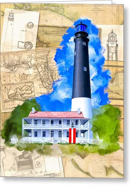 Pensacola Lighthouse - Florida Nostalgia Greeting Card