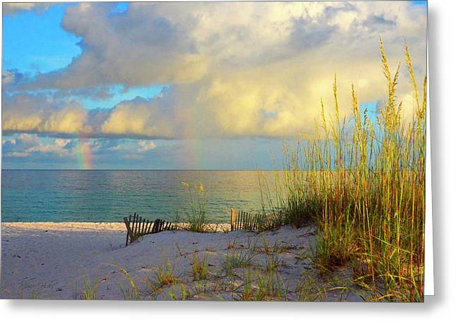 Pensacola Rainbow At Sunset Greeting Card by Marie Hicks