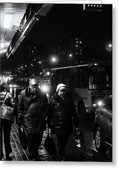 Pensioners Walking At Night Ufa Russia 2015 Greeting Card by John Williams