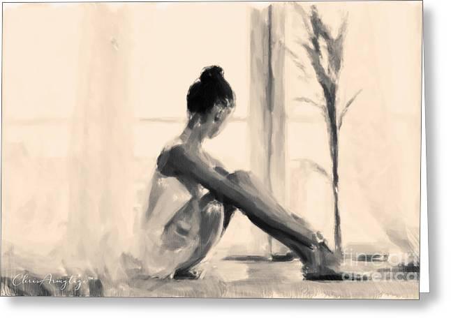 Pensive Ballerina Greeting Card