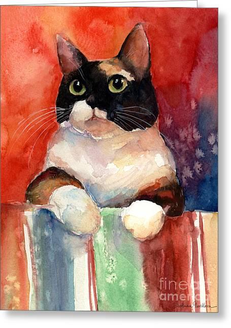 Pensive Calico Tubby Cat Watercolor Painting Greeting Card by Svetlana Novikova