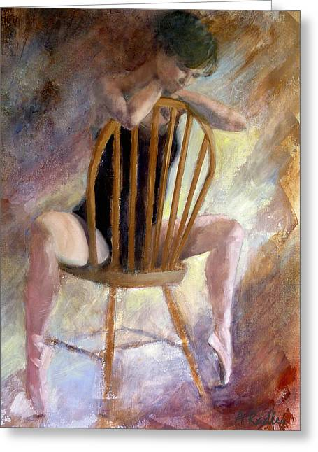 Pensive Dancer Greeting Card by Ann Radley
